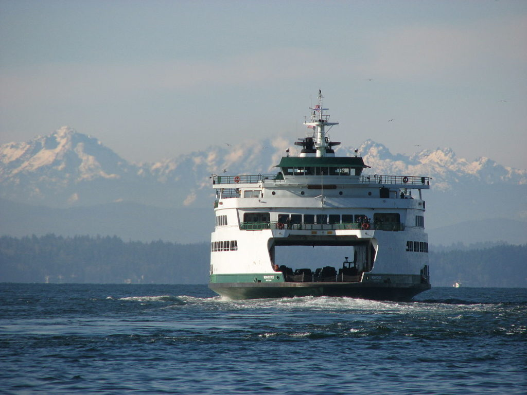 Bainbridge ferry with Olympic Mountains in the background